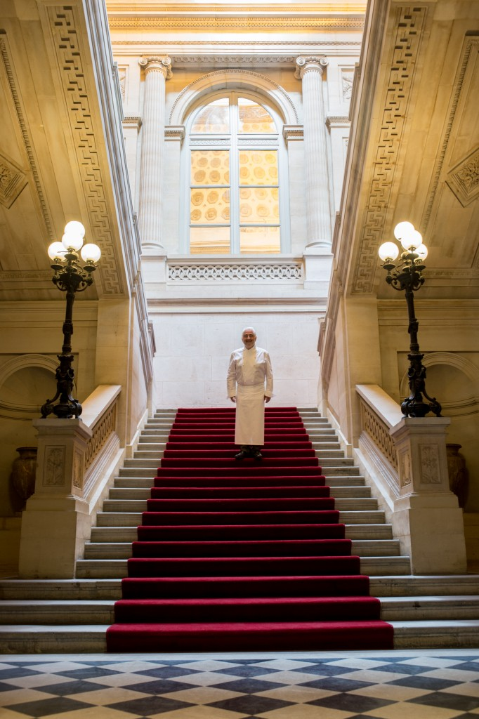 Chef Guy Savoy on the grand staircase at the Monnaie/ Laurence Mouton