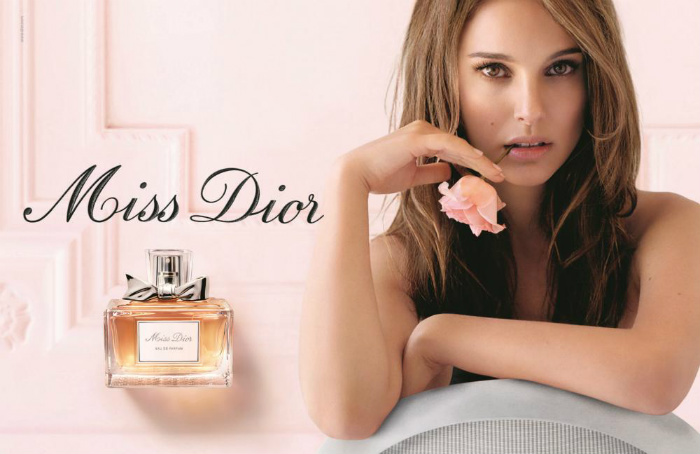 Actress Natalie Portman in an ad for Miss Dior