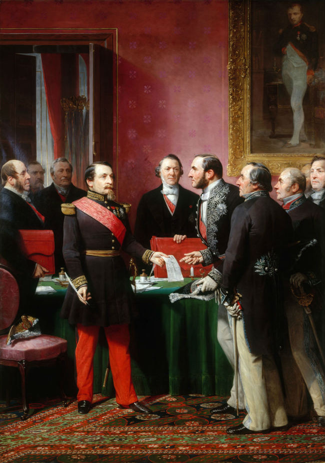 Adolphe Yvon/ Haussmann presents Emperor Napoleon III the documents for the annexation of the Paris suburbs/ Public Domain