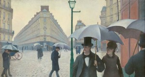 """Gustave Caillebotte, """"Paris Street; Rainy Day 1877""""/ Public Domain"""