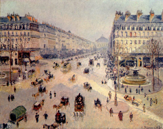 The avenue de l'Opéra, created by Haussmann, as painted by famed artist Camille Pissarro (1898)/ Public Domain