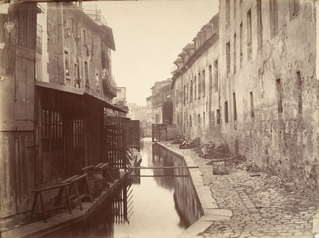 Charles Marville, La Bièvre River, a tributary of the Seine, where tanneries dumped waste