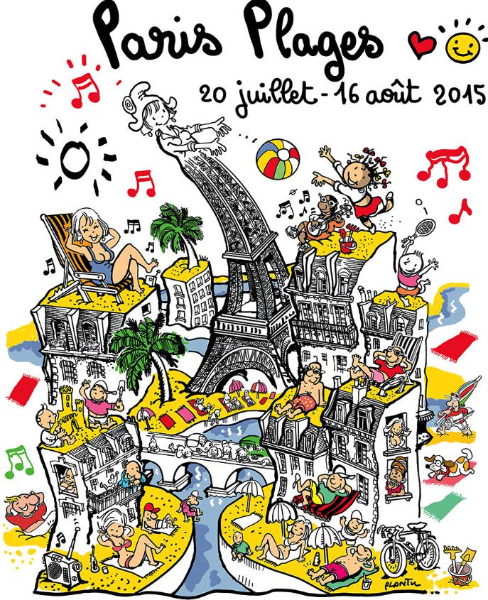 Official Poster for Paris Plages 2015 by Plantu/ City of Paris