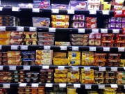French supermarket shelf stocked with tempting desserts