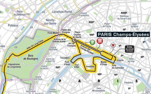 Map of the Tour de France arrival in Paris