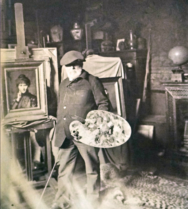 The painter Jean-Jacques Henner in his atelier on Place Pigalle