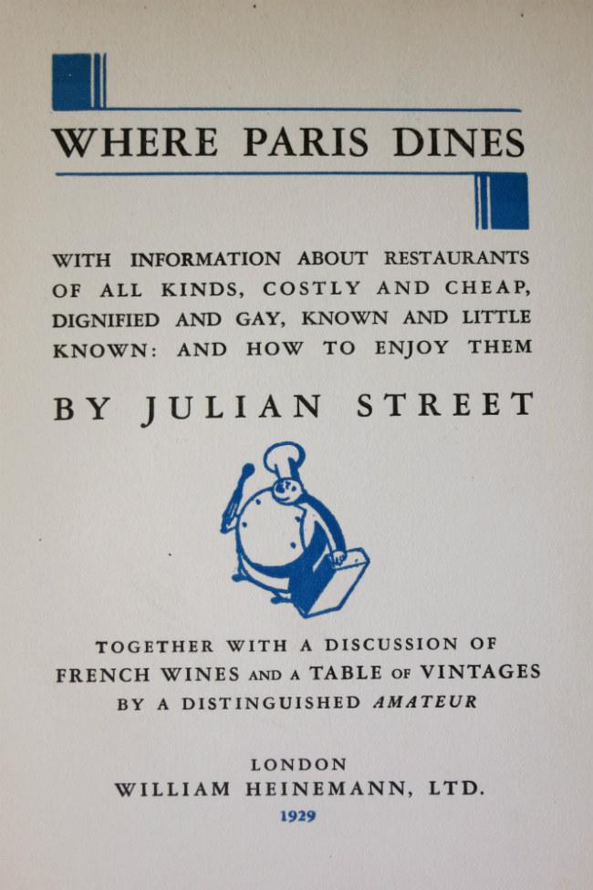 Where Paris Dines by Julian Street