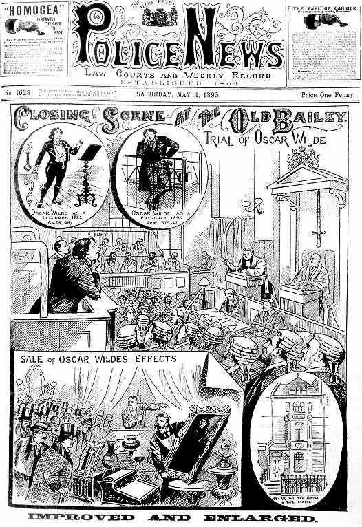 Oscar Wilde Trial from  The Illustrated Police News, 4 May 1895/ Public Domain