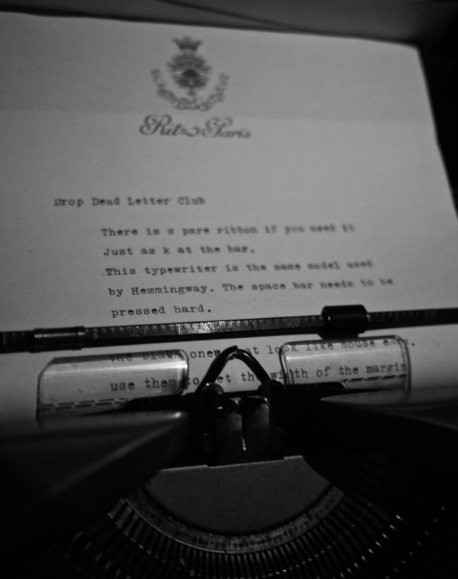 typewriter at the Ritz Hotel