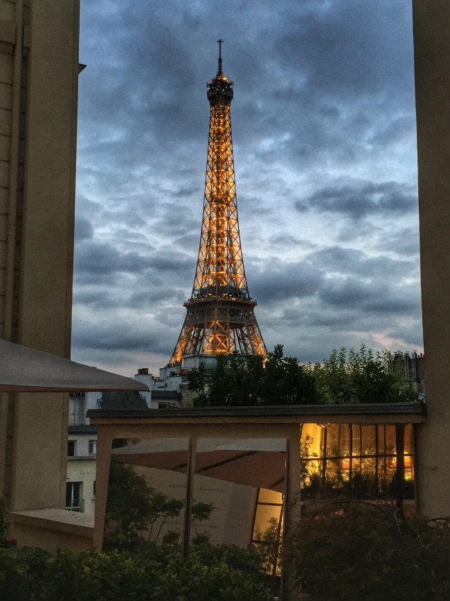 The Eiffel Tower as seen from the Shangri-La