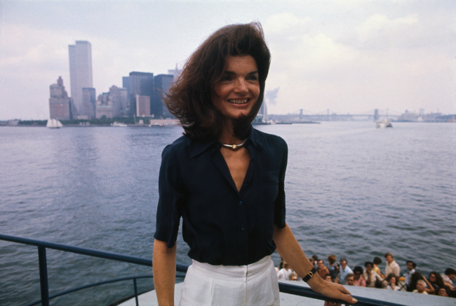 Jackie Kennedy, 1976, on the Staten Island Ferry in New York Harbor