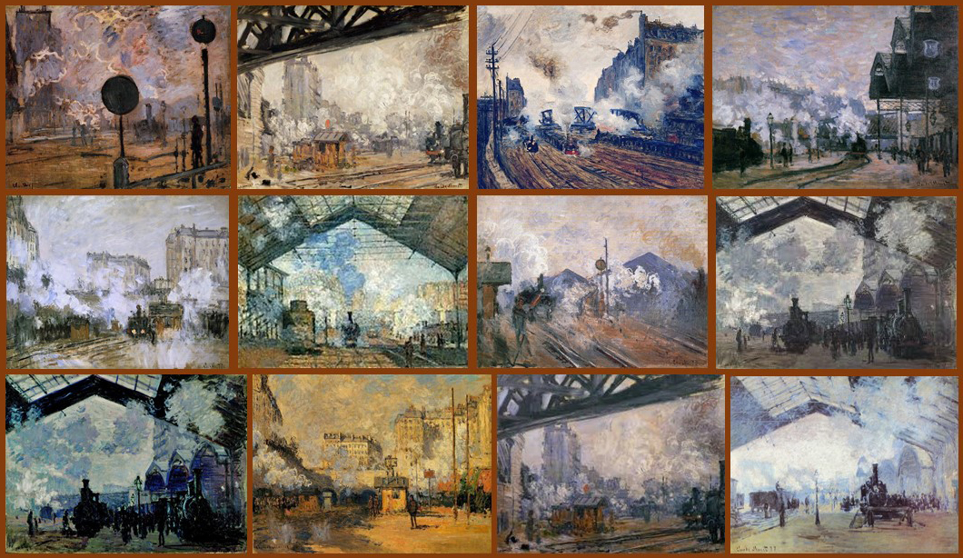 Montage of Claude Monet's paintings of Gare St Lazare