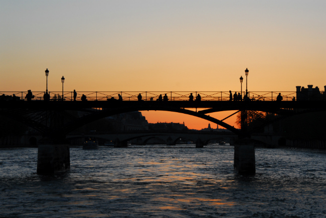 Paris bridge at sunset