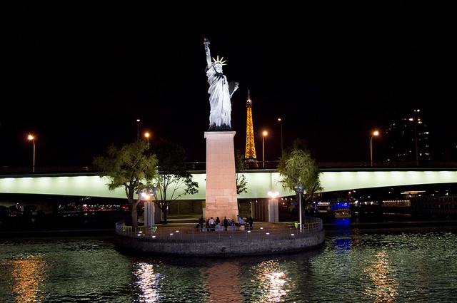 The Eiffel Tower and the Statue of Liberty in Paris