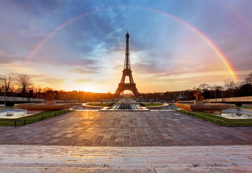 Rainbow over Eiffel tower, Paris