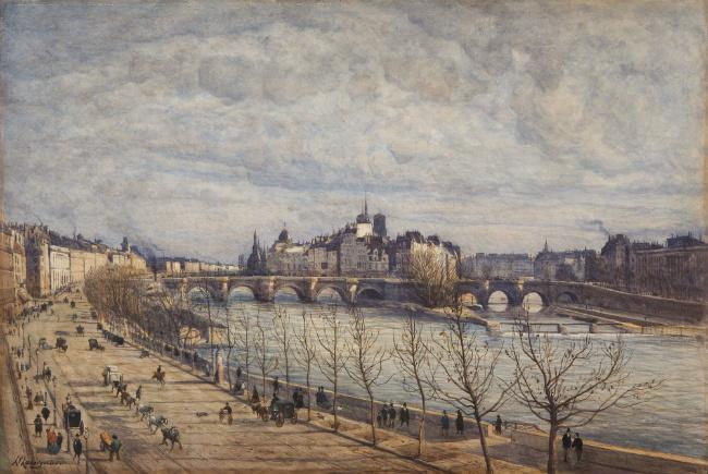 """""""L'Ile de la Cité"""" by Henri Harpignies"""