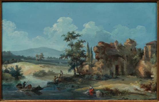 """""""Paysage avec barque et pêcheurs"""" by Louis Belanger"""