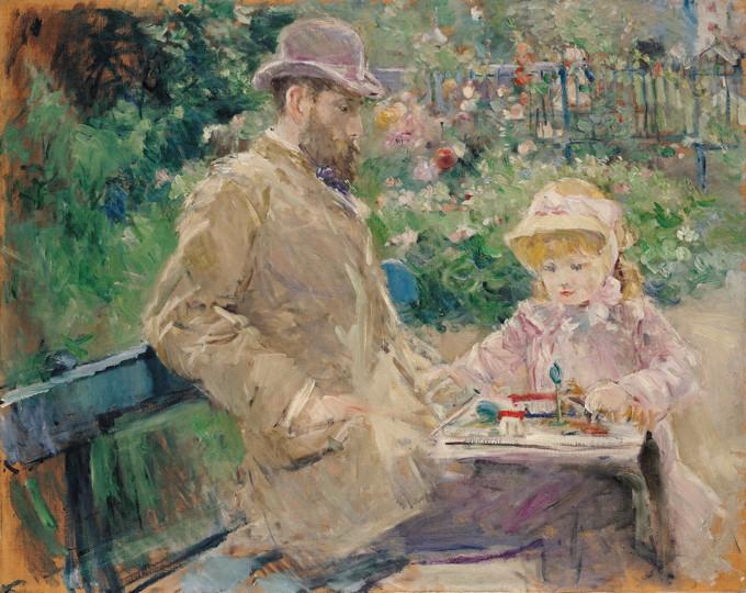 """Berthe Morisot """"Eugène Manet et sa fille dans le jardin de Bougival"""" 1881 - : Paris, musée Marmottan Monet Photo © Musée Marmottan Monet, Paris / The Bridgeman Art Library"""