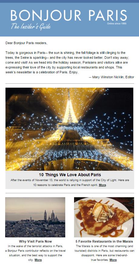 Bonjour Paris newsletter