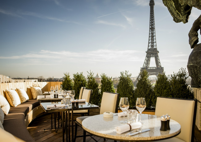 The view from the terrace at Café de l'Homme