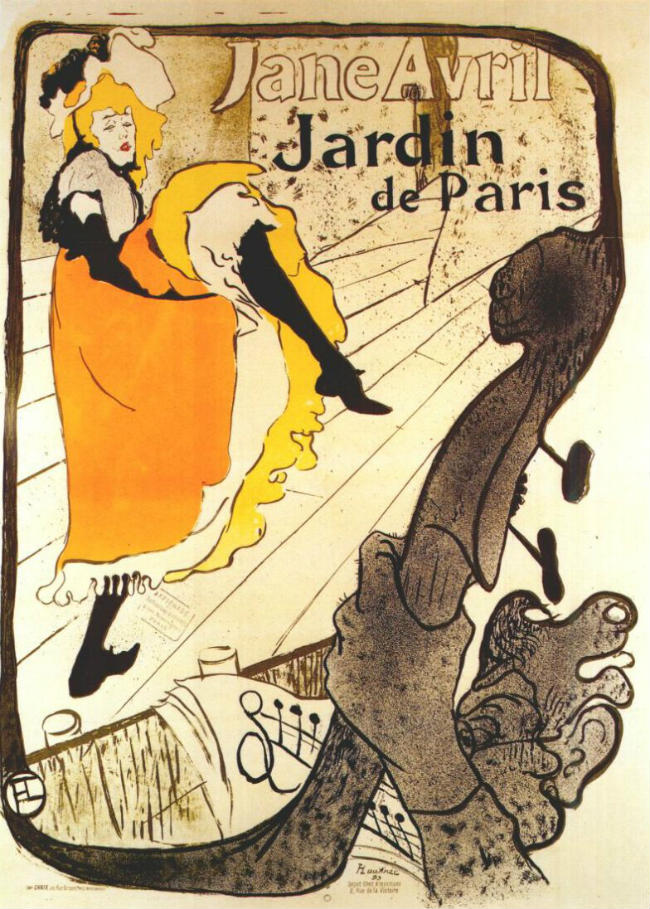 Toulose-Lautrec's poster of Jane Avril at the Jardin de Paris (1893