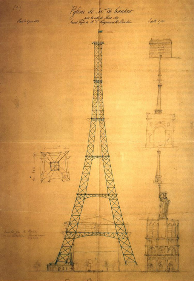 Drawing of the Eiffel Tower by Maurice Koechlin