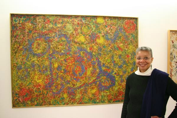 Monique Wells with Delaney's work at the Centre Pompidou Paris