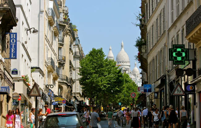 Street view of the rue des Martyrs