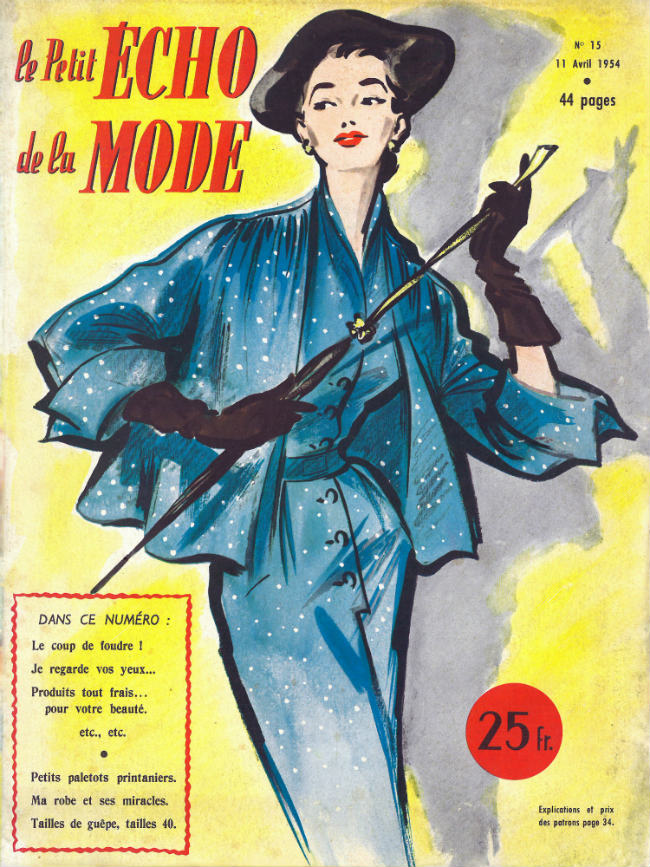 Elegant women have always carried parapluies, Le Petit Écho de la Mode, April 1954