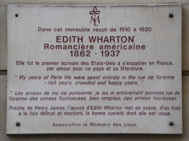 Edith Wharton plaque at 53 rue de Varenne