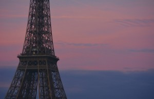 The Eiffel Tower, pink sky