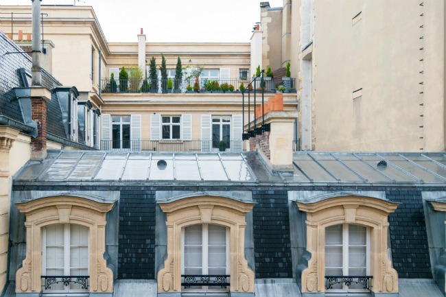rooftop garden view in the 8th arrondissement