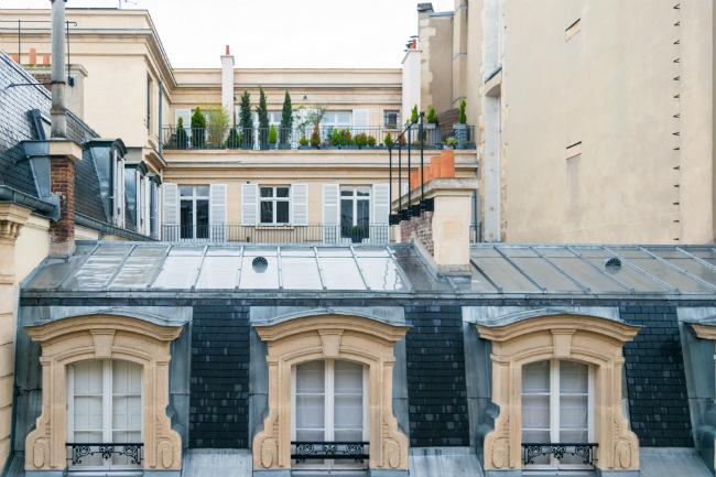 rooftop garden view in the 8th arrondissement