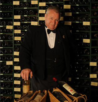 David Ridgway in the cellar of the Tour d'Argent