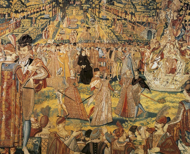 Valois tapestry depicting the ball held by Catherine de' Medici