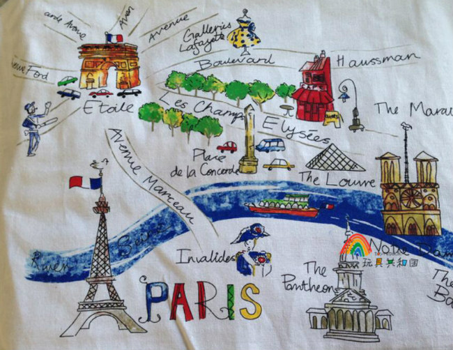 Paris map handkerchief