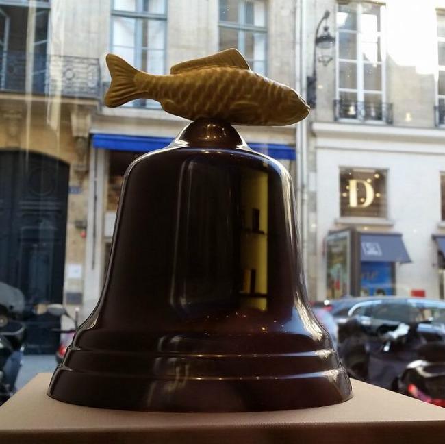Chocolate bells with golden fish at Jean-Paul Hévin, Paris