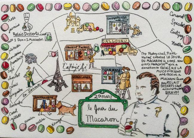 Carol Gillott's Paris Macaron Map Fetes the Jour du Macaron