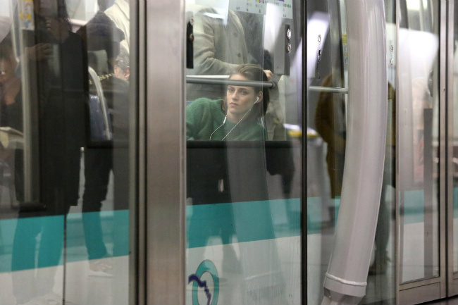 "Actress Kristen Stewart riding the metro for the film ""Personal Shopper"""