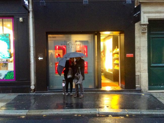 Pierre Hermé's boutique in the rain
