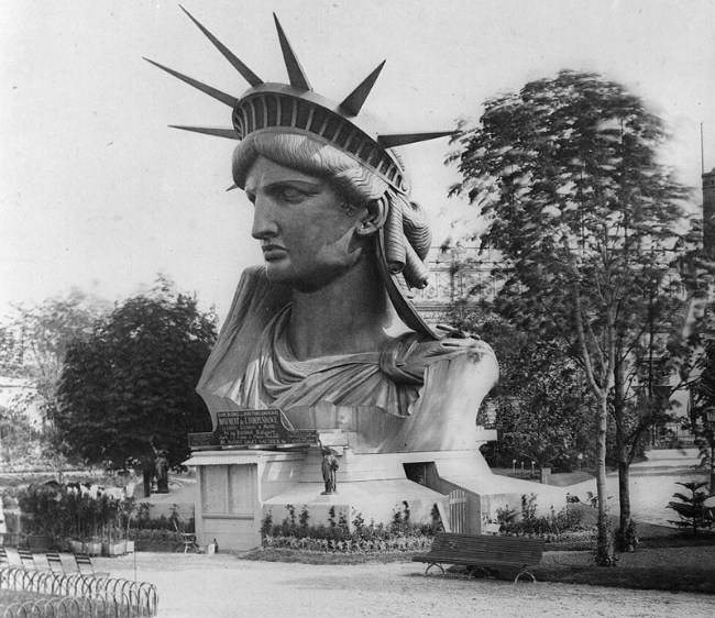 Head of the Statue of Liberty in a Paris park