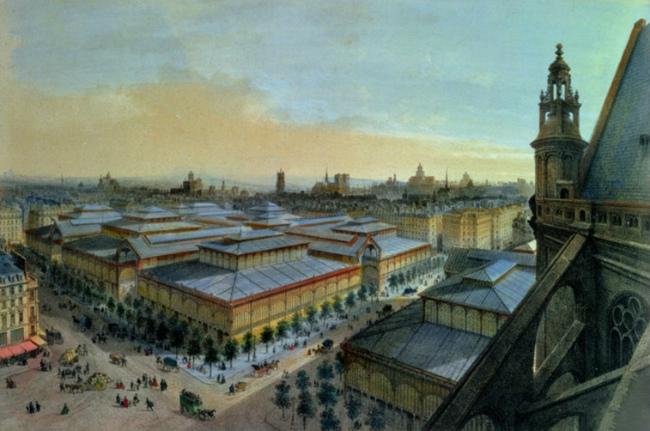 View of Les Halles from Saint-Eustache in 1870, painting by Felix Benoist/ Public Domaine