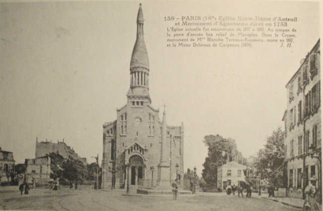 vintage postcard of the Eglise d'Auteuil