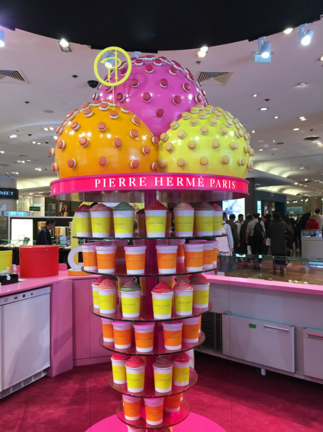 Pierre Hermé ice cream stand at Galeries Lafayette