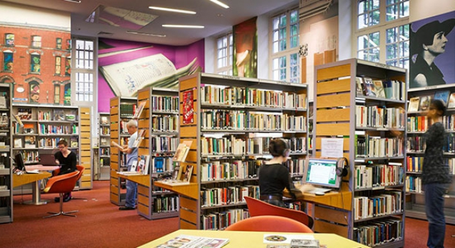 The library at the Irish Cultural Centre