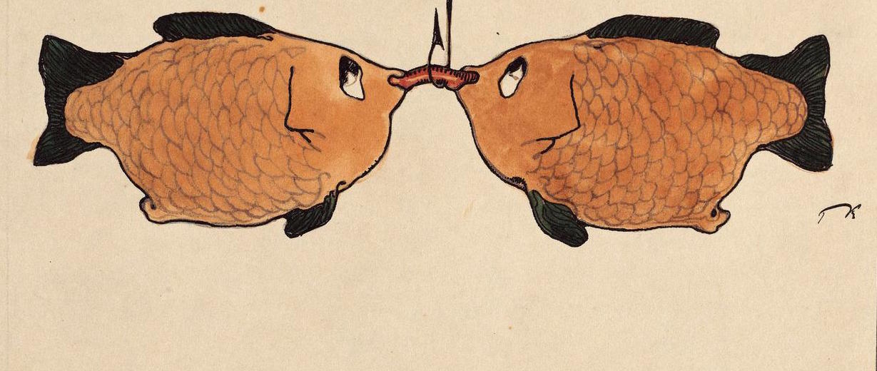 PAUL KLEE Untitled, Two fish, one hook, one bait,1901 ©Collection privée, Suisse