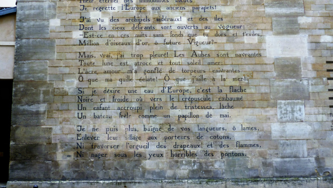 Rimbaud's poem painted on the wall in St Germain