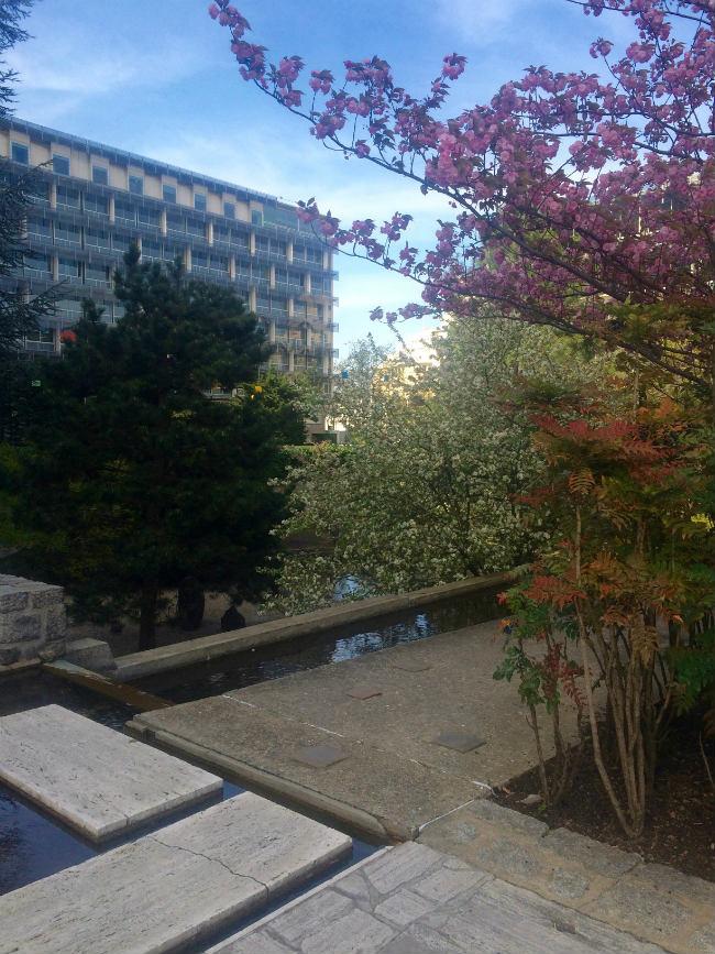 The gardens at UNESCO headquarters in Paris.