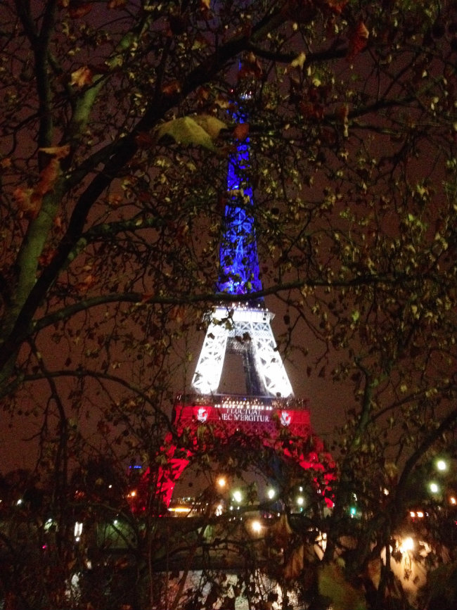 The Eiffel Tower lit up in the colors of the French flag