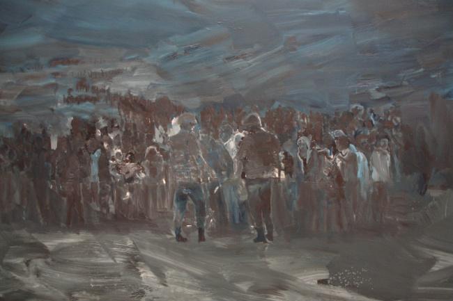 A panel of Yan Pei-Ming's Les Temps Modernes